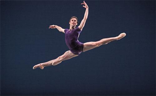 Connor Walsh in Houston Ballet's production of William Forsythe's The Vertiginous Thrill of Exactitude. PHOTO: AMITAVA SARKAR.